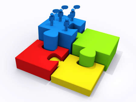 brain puzzle: business teamwork on puzzle pieces to success Stock Photo
