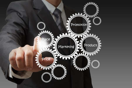 service industry: businessman hand draws target customers diagram