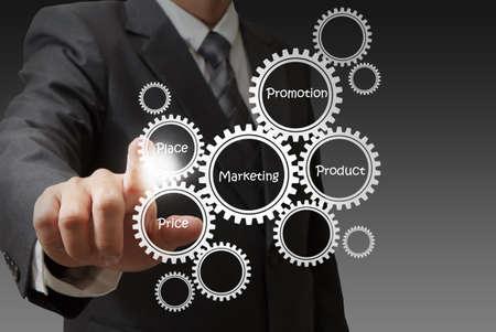la main d'affaires attire les clients cible diagramme Banque d'images