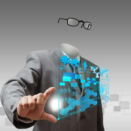niewidoczny: niewidzialny człowiek biznesu pokazuje postęp biznesu