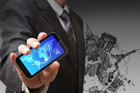 business man shows touch pad concept Stock Photo - 13106693