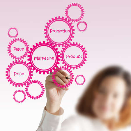 businesswoman draw target customer diagram Stock Photo - 13106699