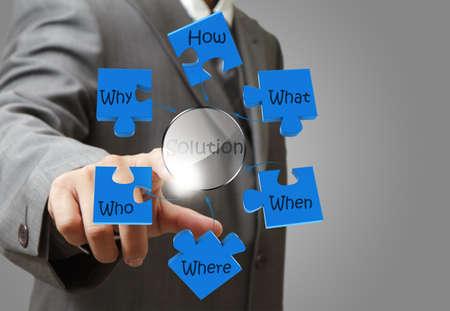 toma de decision: la mano del hombre de negocios que apunta al diagrama de la solución del problema la solución
