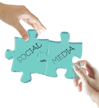 hand and puzzles social media concept Stock Photo - 13106479
