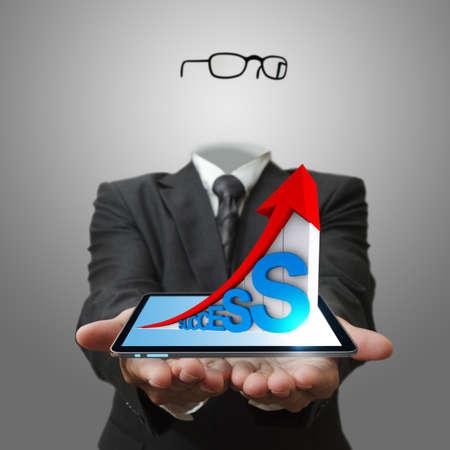 niewidoczny: niewidzialna ręka biznesu pokazując 3d biznesu wykres sukcesu