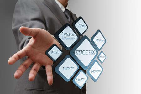 Business man shows success flow chart photo