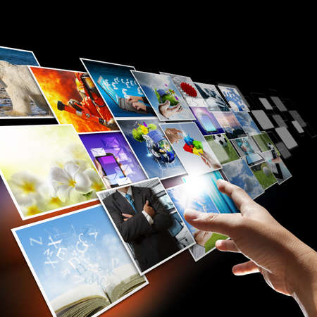 blue widescreen widescreen: hand reaching images streaming as internet concept