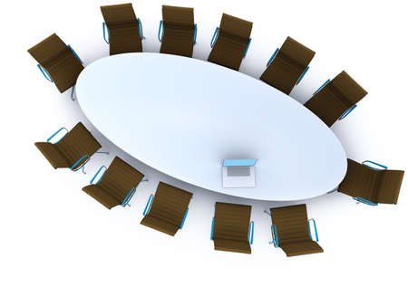 Top view of a table for meeting with copy space photo