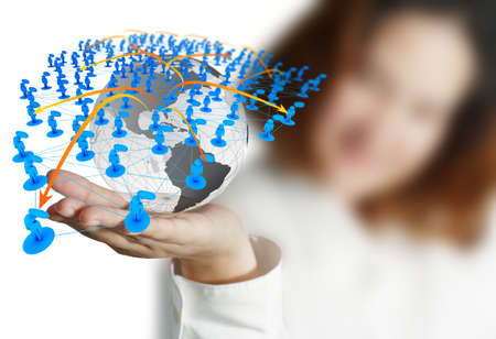 Businesswoman hand holds globe and social network Stock Photo - 13181413