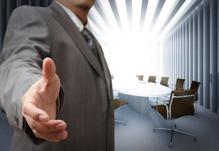 lead: Business man and meeting table background Stock Photo