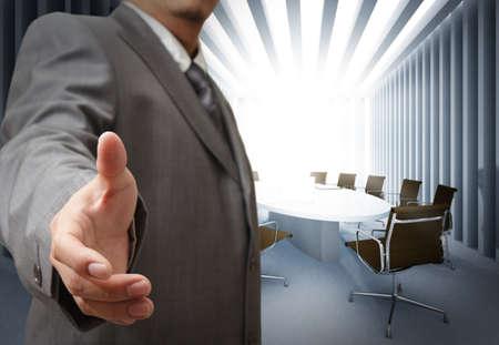 lead: Uomo d'affari e meeting sfondo della tabella