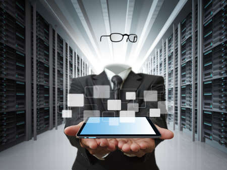 invisible business man and data server concept Stock Photo - 13181425