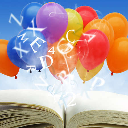 blow up: open book with fancy balloons and text