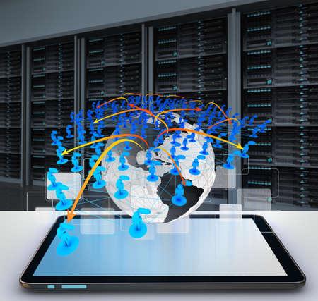 network marketing: Tablet PC y el concepto de icono de la red social