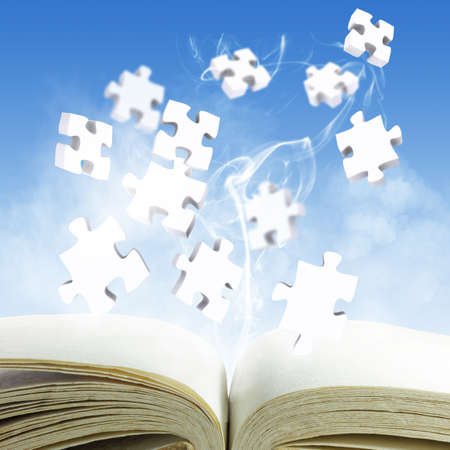bibliophile: open blank book and puzzles concept