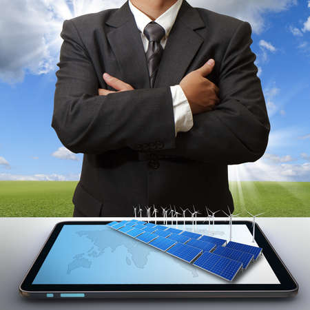 business man success with green business concept Stock Photo - 13181616