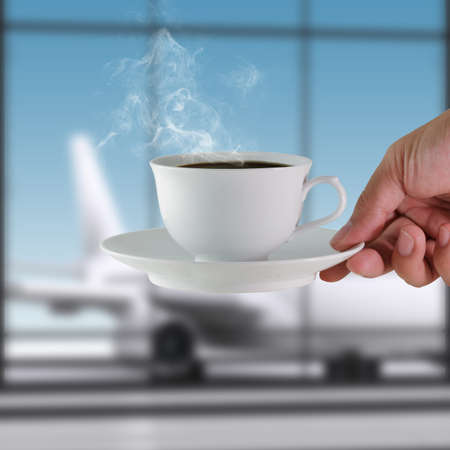 airport lounge: coffee cup at the airport