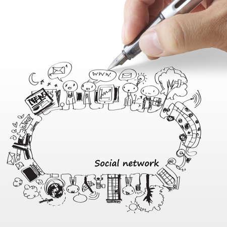 trabajo social: mano dibuja una red social Foto de archivo