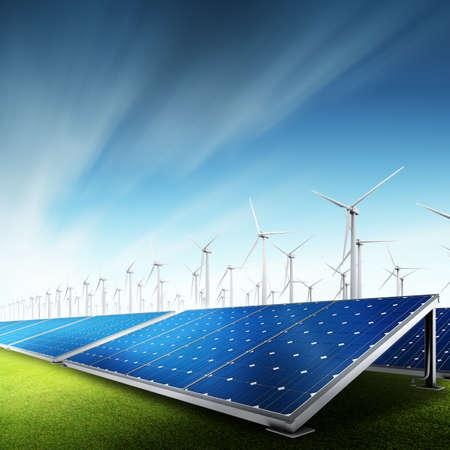 photovoltaik: Kraftwerk mit Fotovoltaikanlagen und Eolic Turbine Lizenzfreie Bilder