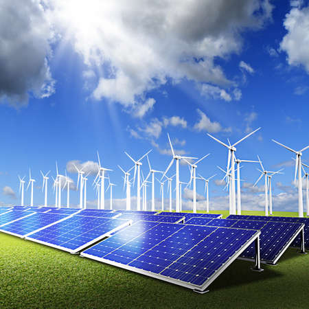 Powerplant with photovoltaic panels and eolic turbine on blue sky