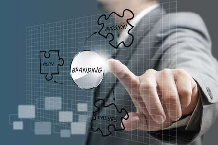 attribute: business man hand point to branding diagram Stock Photo