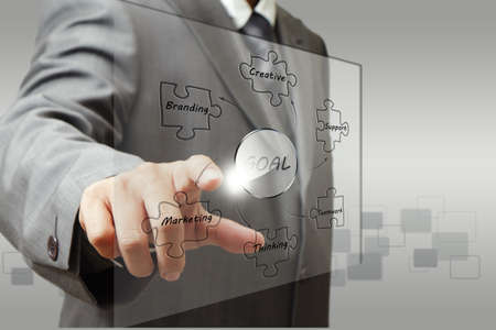 business man hand point to business goal diagram photo