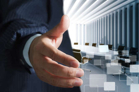 Business man and meeting table background photo