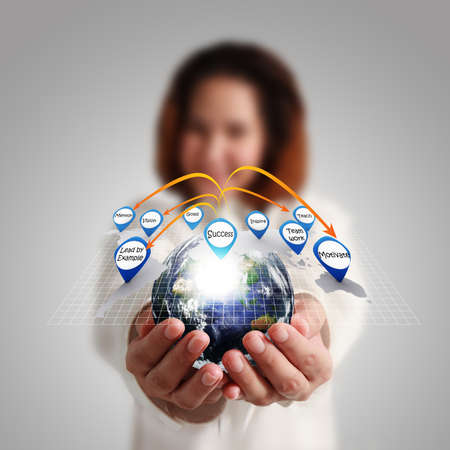 Businesswoman hand holds globe and social network Elements of this image furnished by NASA  photo