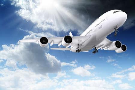 3d grote passagiersvliegtuig vliegt in de blauwe hemel Stockfoto