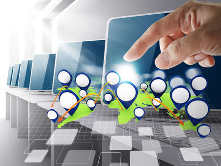 hand point to blank network icon Stock Photo - 13181712