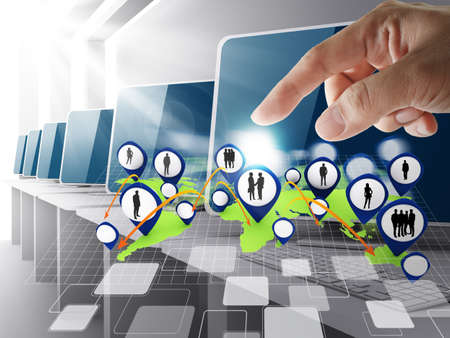 hand point to social network icon computer room Stock Photo - 13181716