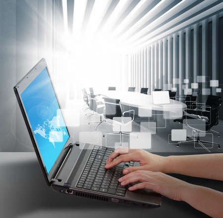 virtual server: female hands typing on a laptop Stock Photo