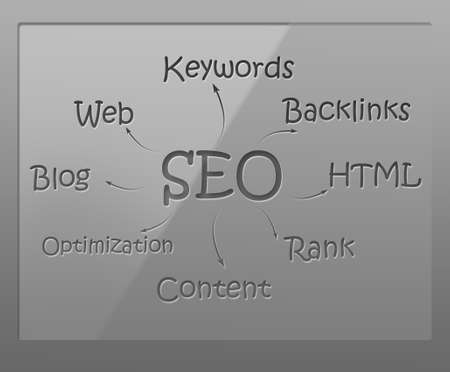 back link: SEO flow chart on glass shield