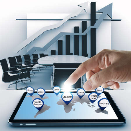 hand point business success icon with tablet computer Stock Photo - 13181711