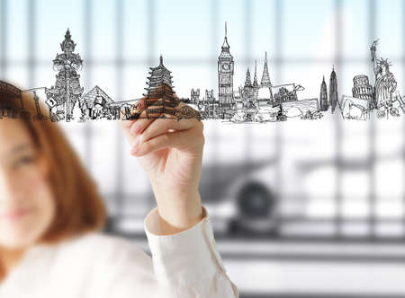 female hand draws dream travel Stock Photo - 13181731