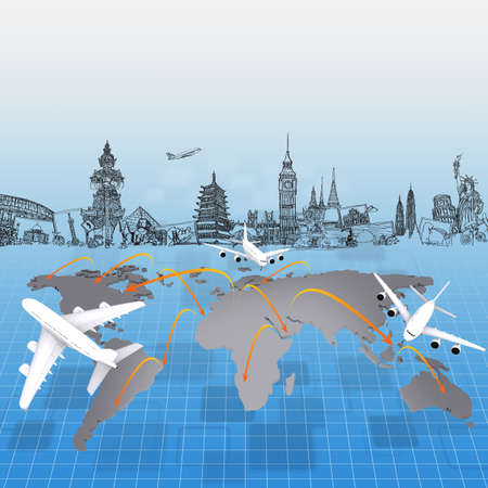 세계 개념 여행 주위에 비행기