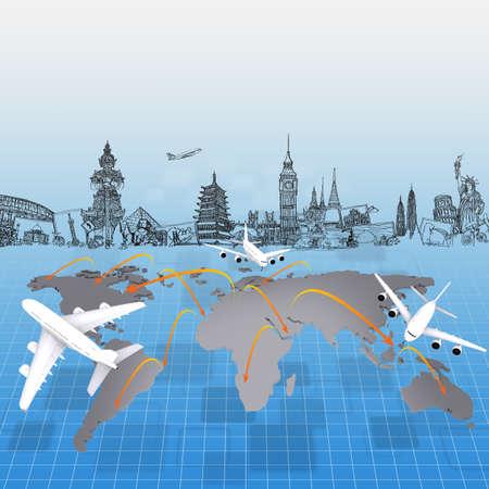 repülőgép az egész világon fogalom utazási Stock fotó