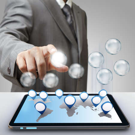 business man hand touch blank business success diagram glass icon photo