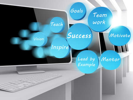 success icon diagram and computer room photo
