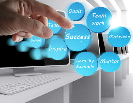 hand point to success icon diagram Stock Photo - 13310178