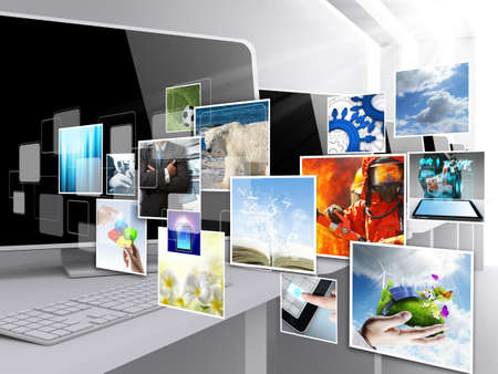 slide show: internet streaming images as concept