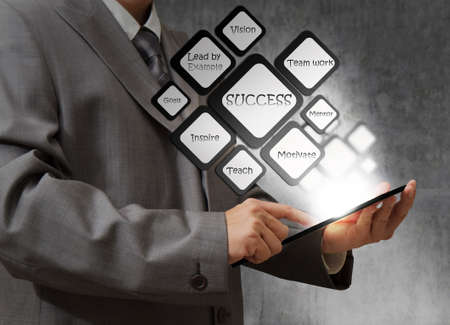 clear strategy: Business man using tablet computer and success flow chart Stock Photo
