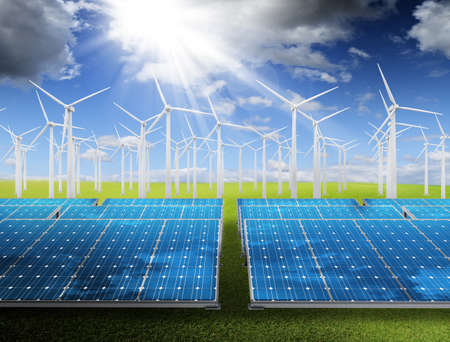 Power plant with photovoltaic panels and eolic turbine on blue sky Stock Photo - 13310388