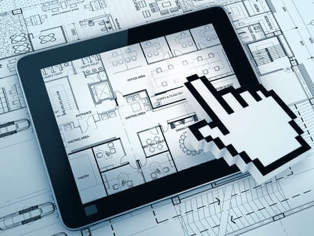 architect tools: hand cursor point on layout drawing with tablet computer Stock Photo