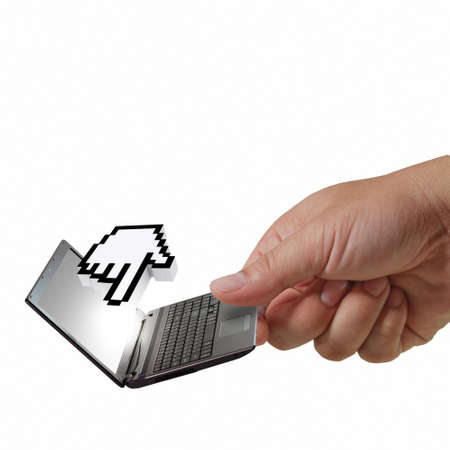 3d cursor: hand picks laptop with 3d cursor hand Stock Photo