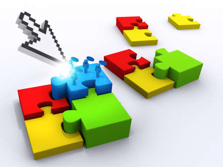 arrow cursor pointing at completing the puzzle Stock Photo - 13421933