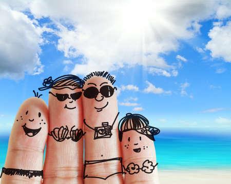 rodzina palec wÄ™druje na plaży jako koncepcji Zdjęcie Seryjne