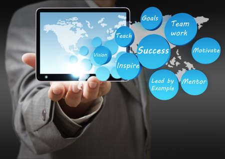 business hand shows success icon diagram and tablet computer photo