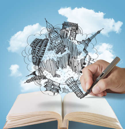 open country: open book and hand drawing dream travel