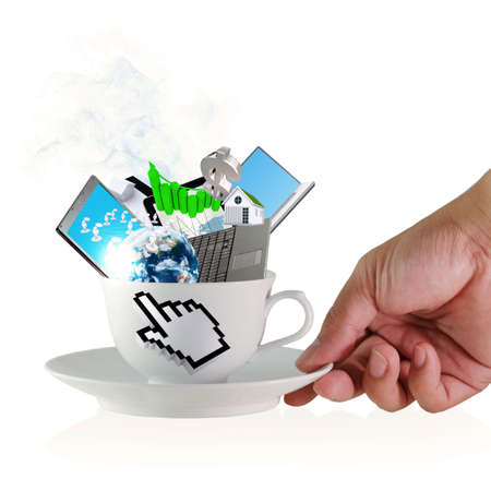 internet technology: hand holds a cup of coffee with hand cursor sign and business objects